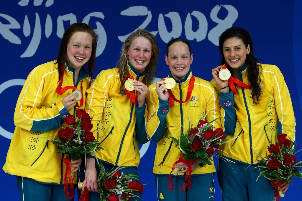 Palmer left was part of the Australian team that won freestyle relay gold at the 2008 Olympic Games in Beijing