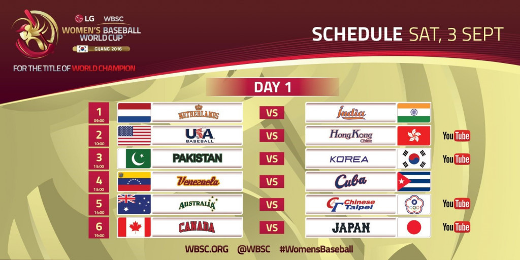 WBSC have revealed the opening day's schedule with several matches available on Youtube ©WBSC