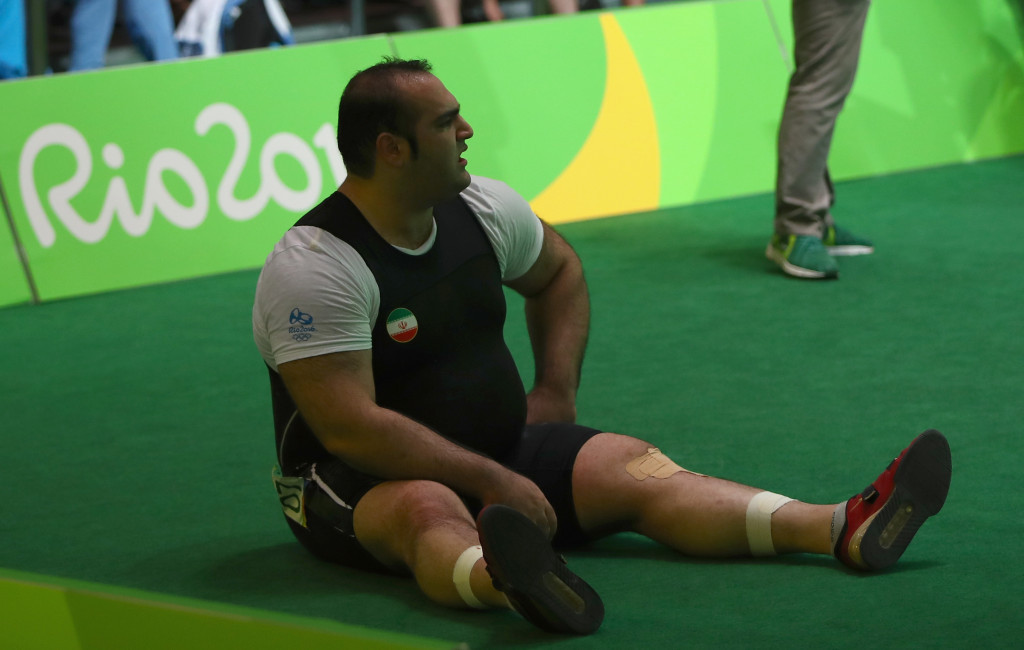 Iranian Behdad Salimikordasiabi and his coaching team fiercely protested after he was adjudged not to have competed a successful lift in the over 105kg event at Rio 2016 ©Getty Images