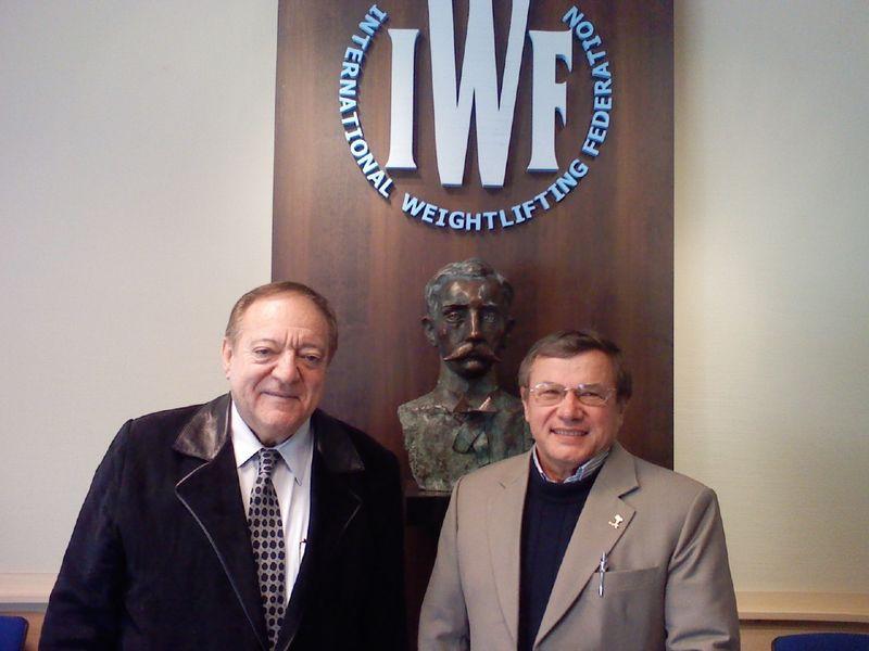 Paul Coffa, right, pictured alongside IWF President Tamas Ajan ©IWF