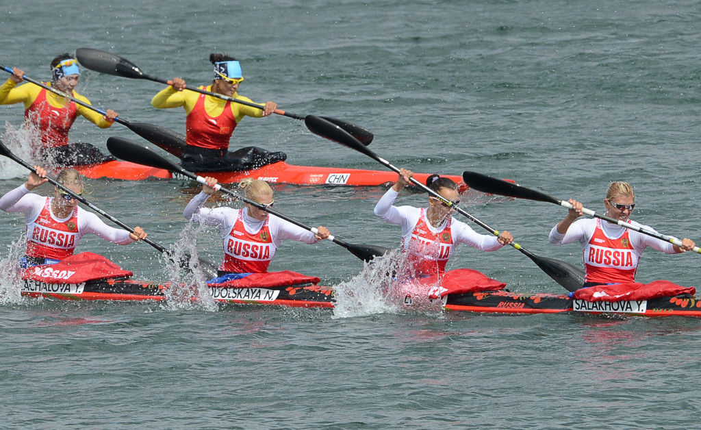 Natalya Podolskaya, third left, is the other Russian canoeist reportedly banned ©Getty Images