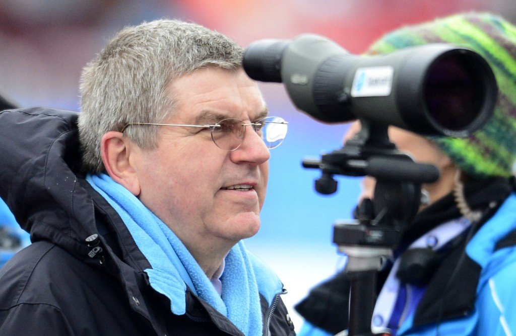 IOC President Thomas Bach pictured attending a German-leg of the IBU World Cup in 2015 ©Getty Images
