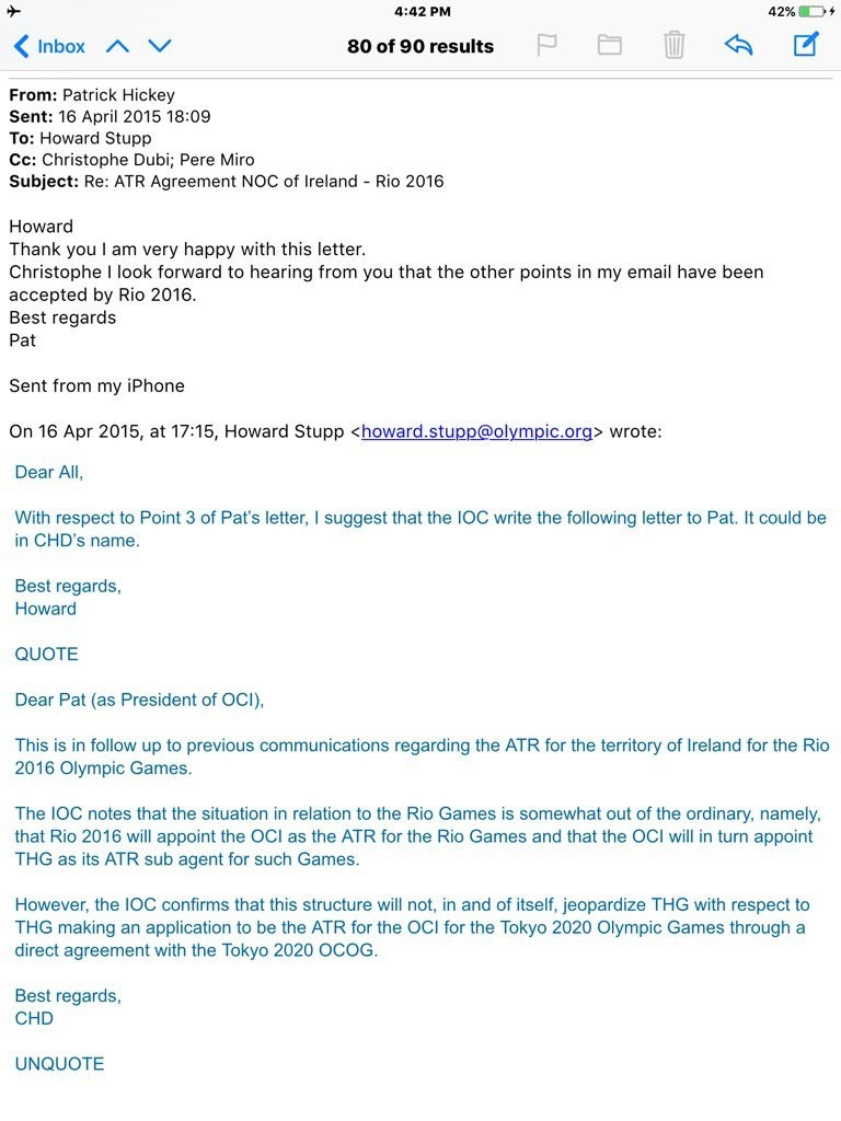 An e-mail purportedly from Patrick Hickey, published by Estadao ©Estadao