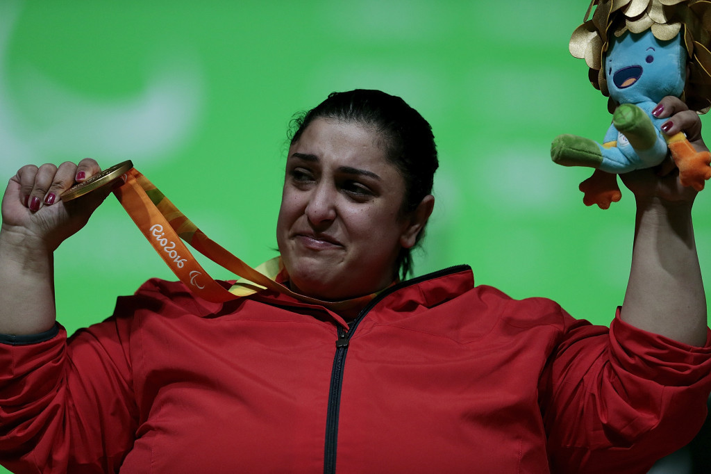 Egypt's Mohamed Eldib and Randa Mahmoud (pictured) both won Paralympic powerlifting gold medals on Tuesday ©Getty Images