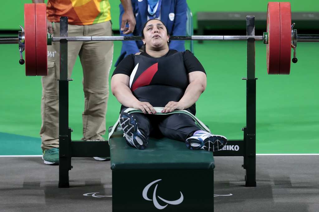 Randa Mahmoud won Egypt's second medal of the day after she lifted 130kg in the women's under 86kg final ©Getty Images