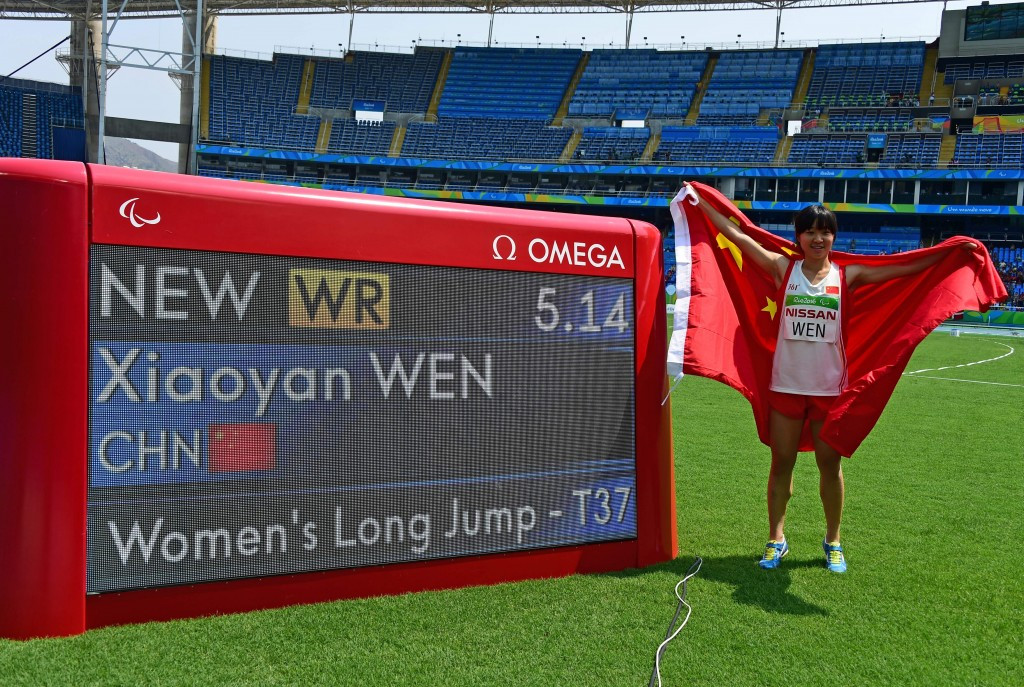 Wen Xiaoyan produced the furthest leap in history to win gold in the women's long jump T37 ©Getty Images