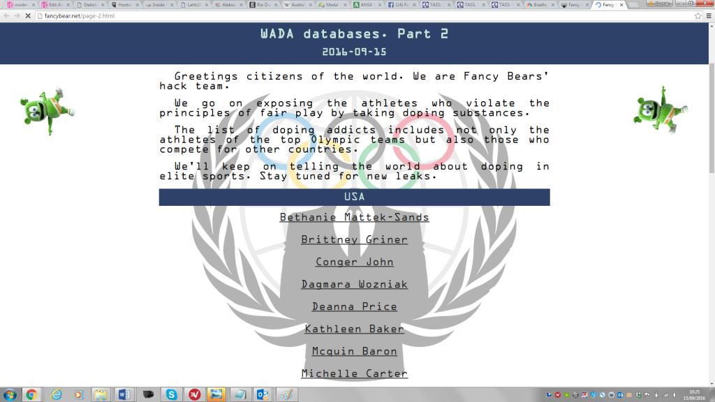 Britain has said Russia's GRU were behind the Fancy Bears cyber attacks ©Fancy Bears
