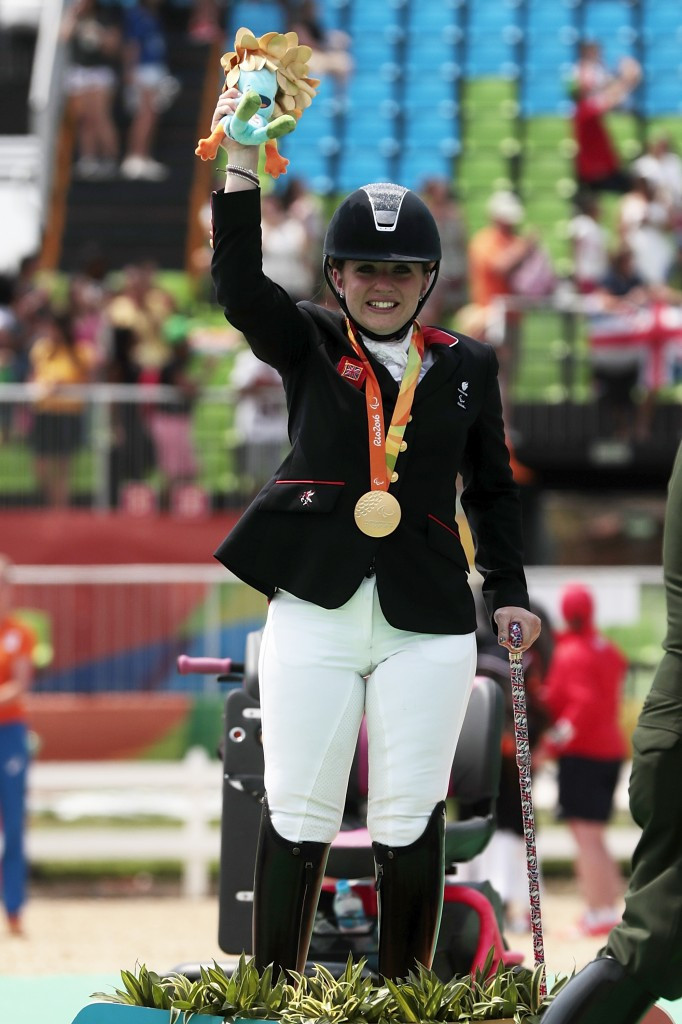 Britain's Natasha Baker defended her Individual Championship Test Grade III para-dressage Paralympic title ©Getty Images