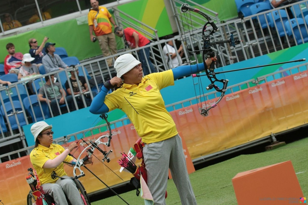 A shoot-off was needed to separate the Chinese duo in the gold medal contest ©World Archery