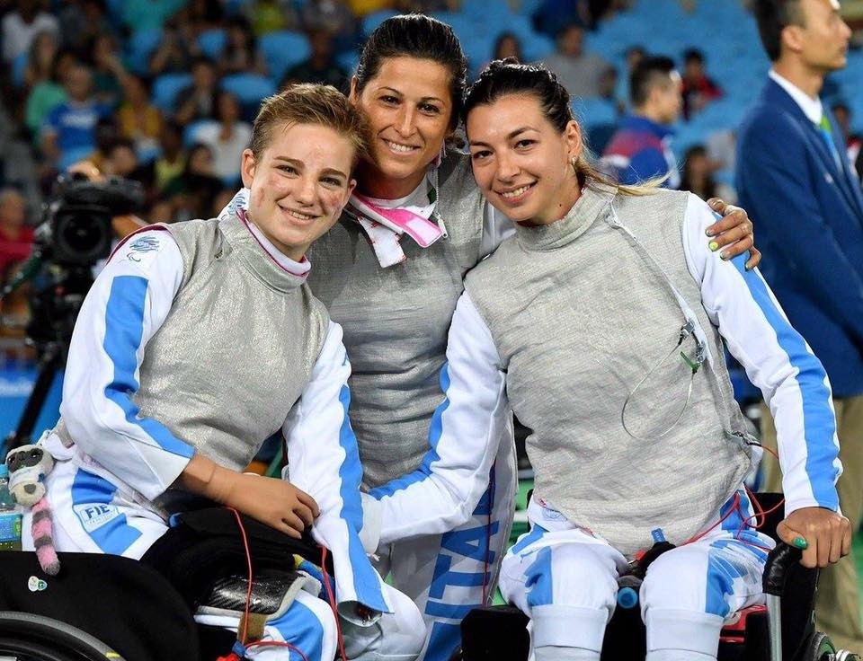 Individual champion Beatrice Vio, left, helped Italy seal bronze in the women's team foil ©Facebook