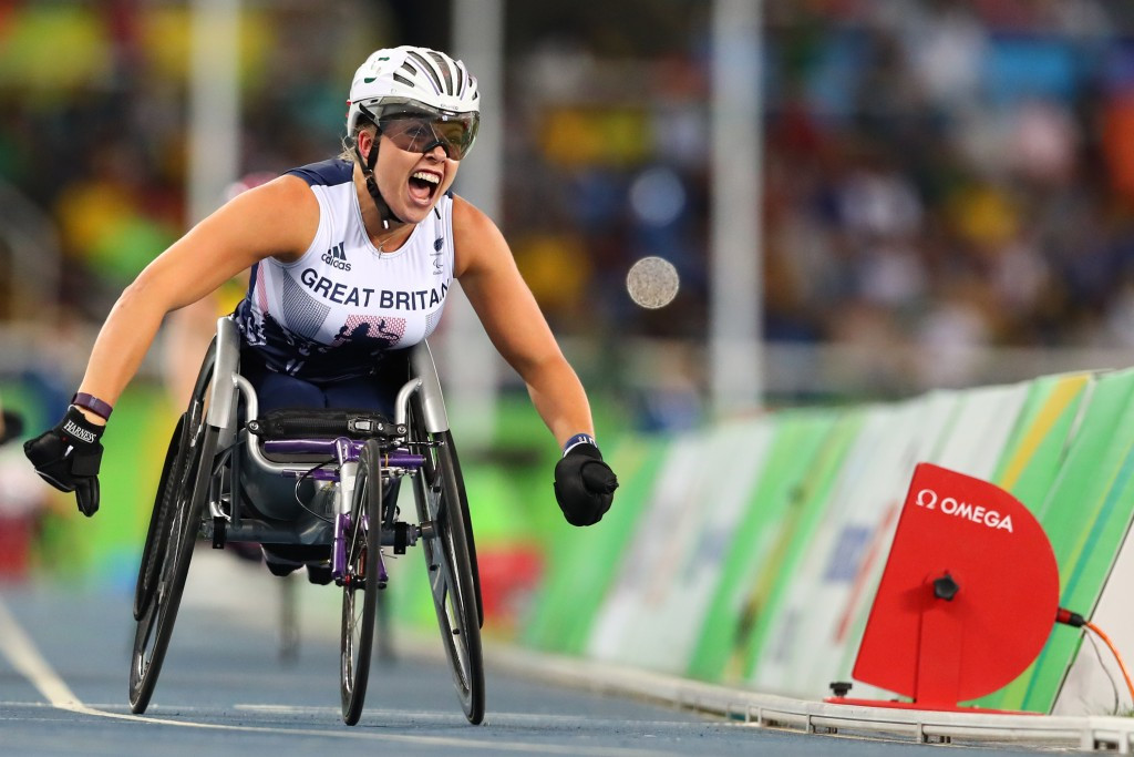 Great Britain's Hannah Cockroft made it a golden hat-trick at the Rio 2016 Paralympic Games this evening with victory in the women's 800m T34 ©Getty Images