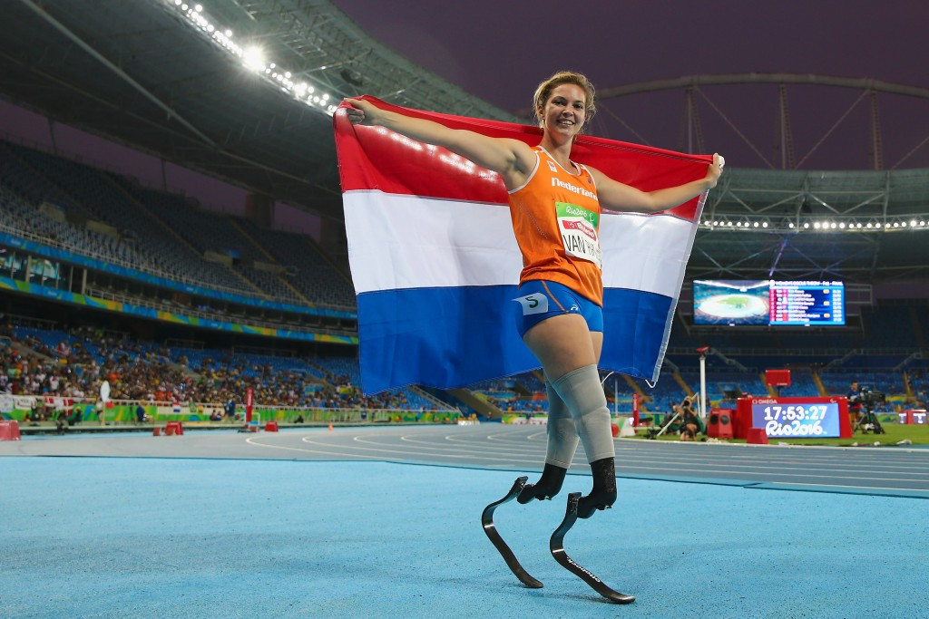 The Netherlands Marlou van Rhijn completed the 100 and 200m double in last gasp fashion ©Getty Images