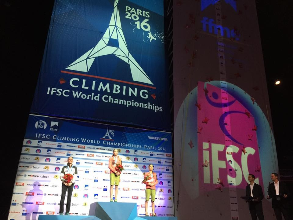 Slovenia's Janja Garnbret won the gold medal in the women's difficulty climbing competition ©IFSC