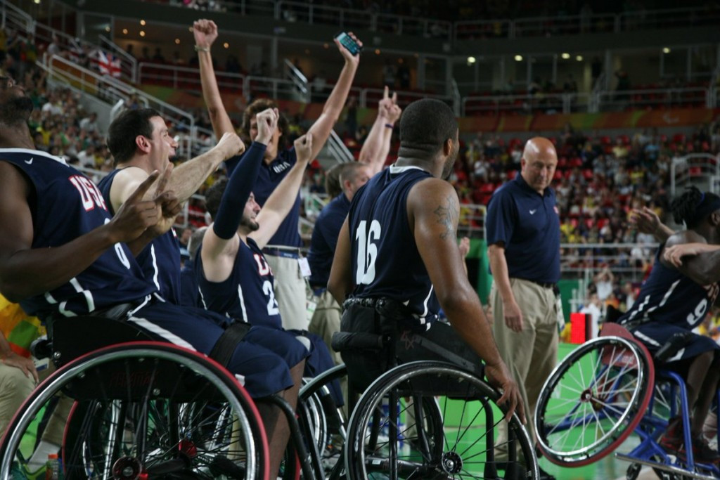 United States celebrate their historic wheelchair basketball gold ©Twitter