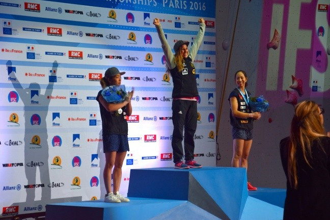 Petra Klingler, centre, won the women's bouldering final ©IFSC