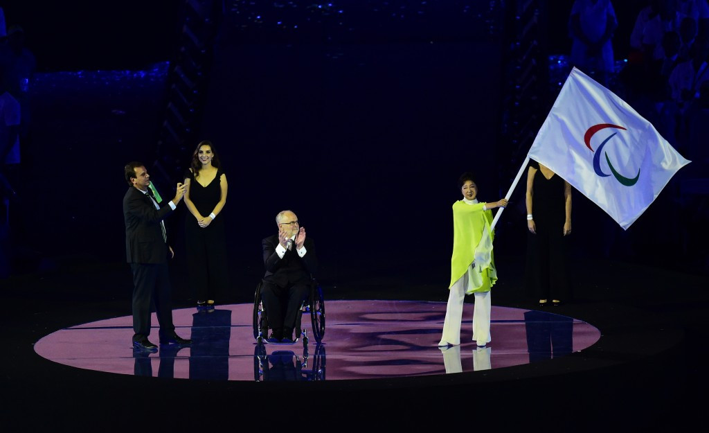 The traditional Handover Ceremony took place with Tokyo Governor Yuriko Koike receiving the Paralympic Flag from IPC President Sir Philip Craven ©Getty Images