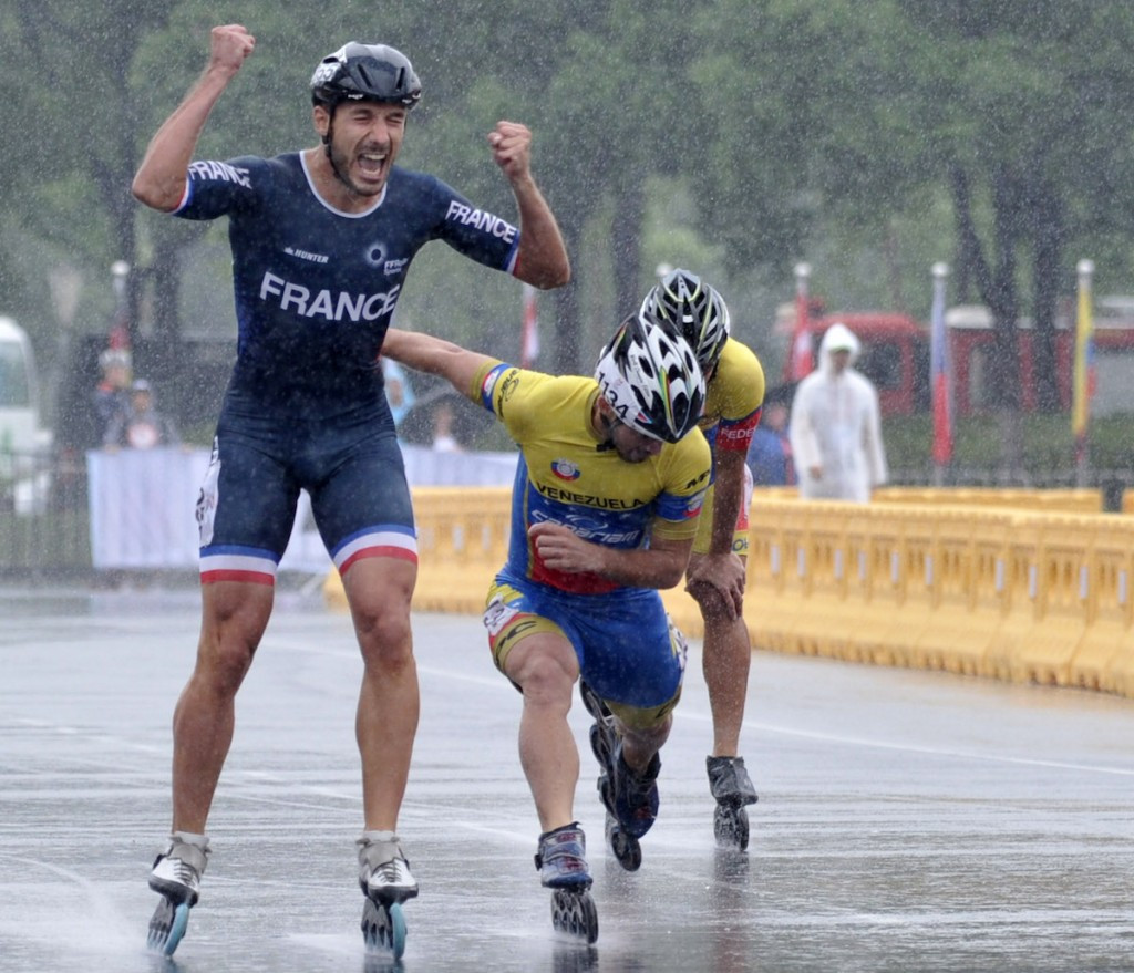 French triple as rain disrupts FIRS World Speed Skating Championships