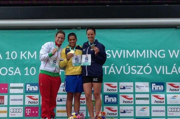 Brazil's Ana Marcela Da Cunha won the women's race in Hungary