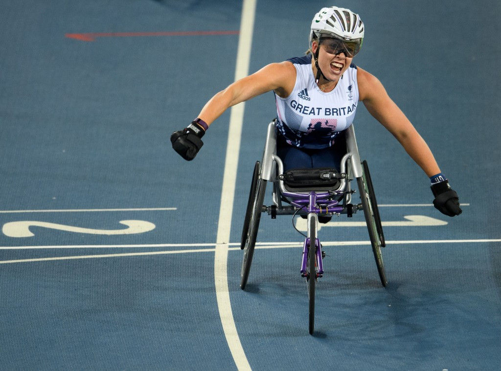 Wheelchair racer Hannah Cockroft won a hat-trick of gold medals at the Rio 2016 Paralympics ©Getty Images