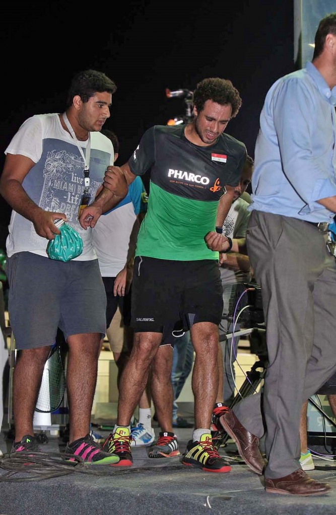 Triple world champion Ashour retires injured as Al Ahram Squash Open continues at Great Pyramids