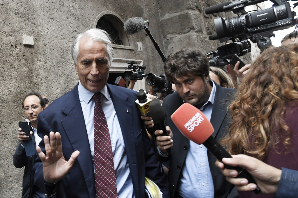 CONI President Giovanni Malago gestures after a meeting with Rome Mayor Virginia Raggi was reportedly cancelled  shortly before she announced the city would not support the id for the 2024 Olympic and Paralympics ©Getty Images