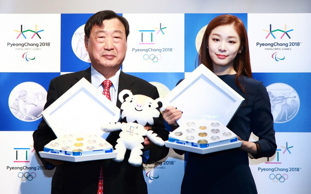 Pyeongchang 2018 President Lee Hee-beom launches celebratory coins with Olympic figure skating champion Kim Yuna ©Pyeongchang 2018