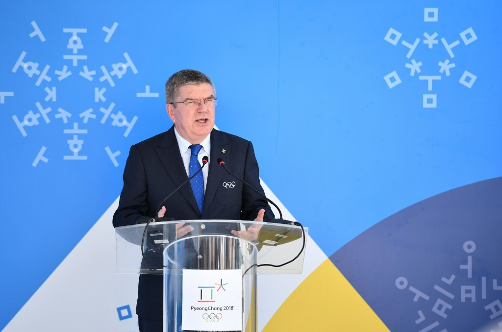 Thomas Bach is visiting Pyeongchang ahead of the 2018 Winter Olympics ©Getty Images