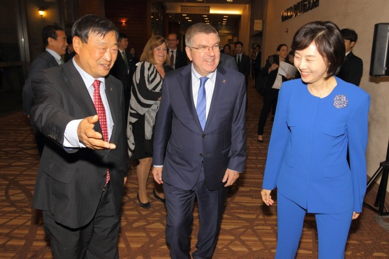 IOC President Thomas Bach met with the Sports Ministers of the next three Olympic host nations during the two-day conference ©Pyeongchang 2018