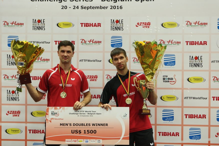 Russian pairing Mikhail Paikov and Alexey Liventsov won the men's doubles crown at the ITTF Belgium Open, beating Hungarian duo Adam Szudi and Tamas Lakatos in the final ©ITTF