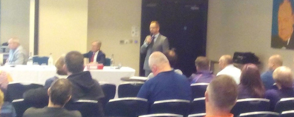 Ice Hockey UK chairman Richard Grieveson address the EIHA about his plans for a single governing body ©IHUK