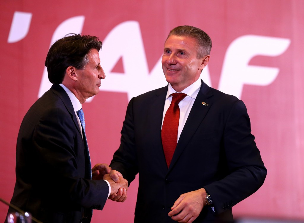 Sergey Bubka, right, pictured with IAAF President Sebastian Coe ©Getty Images
