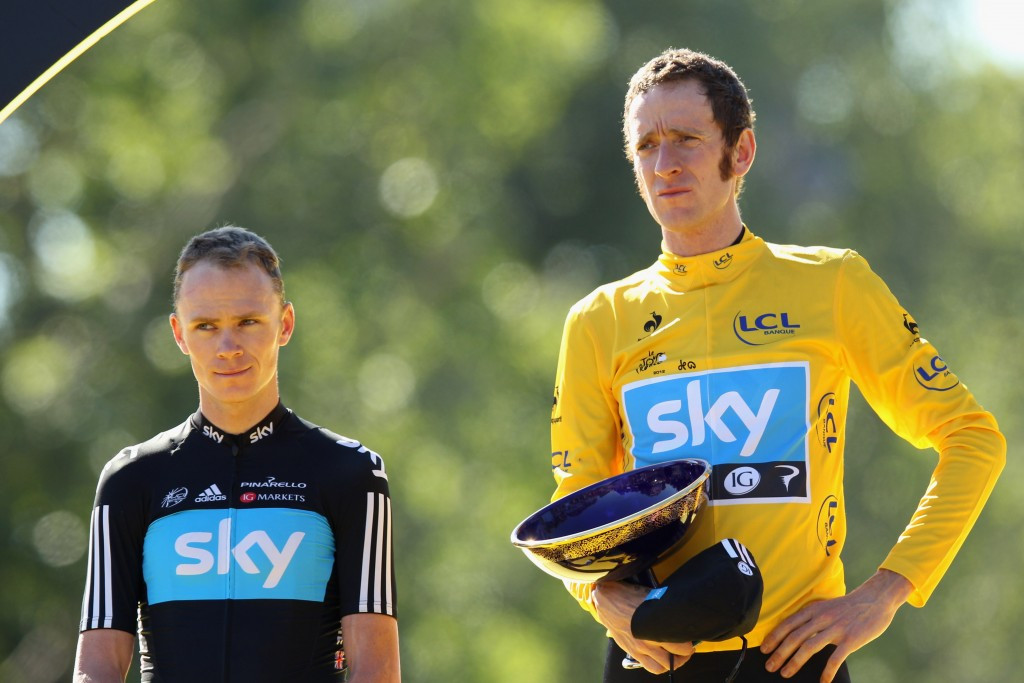 Chris Froome, pictured, on the podium at the 2012 Tour de France alongside fellow Briton Bradley Wiggins ©Getty Images