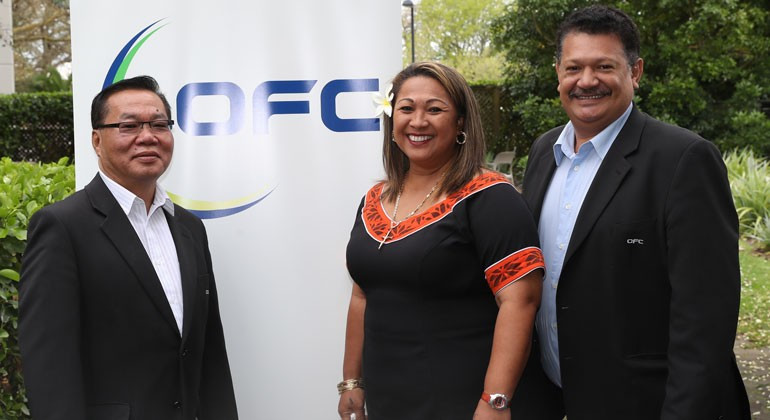 Sandra Fruean, middle, and Lee Harmon, right, were elected to the FIFA Council at the Oceania Football Confederation Extraordinary Congress in Auckland ©OFC