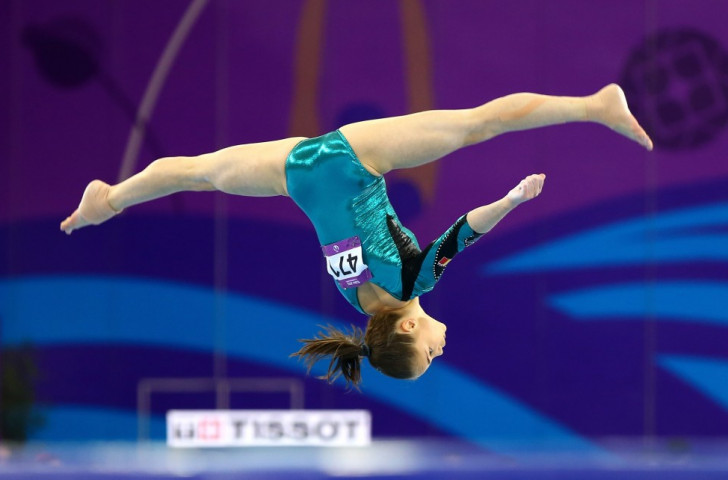 Romania's Silvia Zarzu competes during the women's gymnastics floor exercise ©Getty Images