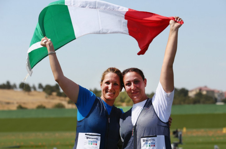 Italy's Chiara Cainero (left) and Diana Bacosi (right), bronze and silver medallists respectively, celebrate after the women's skeet shooting final ©Getty Images