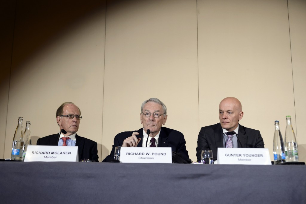 Canadian duo Richard McLaren and Richard Pound, left and centre, have chaired WADA Independent Commission reports into alleged state-sponsored doping in Russia ©Getty Images