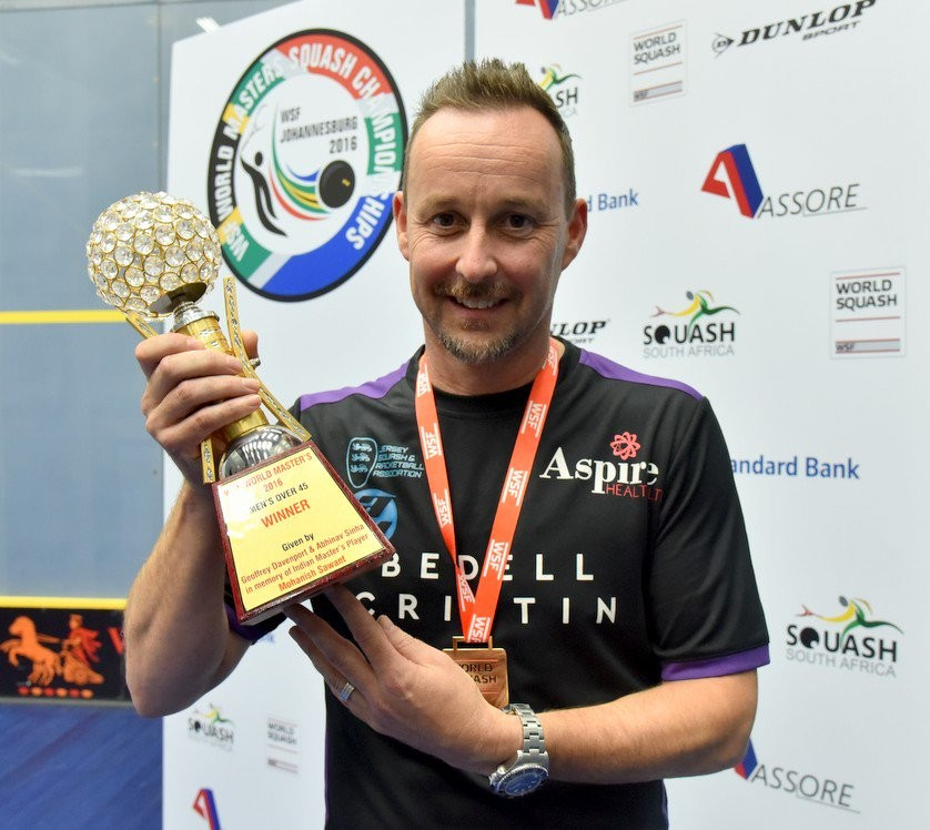 Jersey's Nick Taylor won gold in the men's over-45 championship and received the honour of being named player of the tournament ©Masters Squash