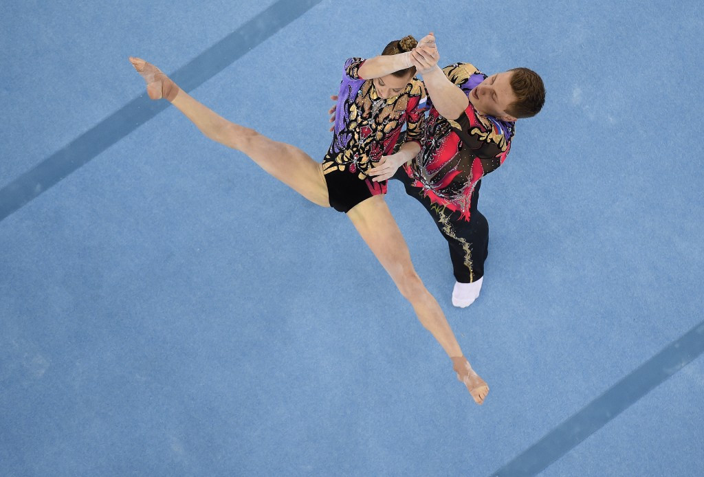 Marina Chernova and Georgy Pataraya were at the double today to complete a hat-trick of acrobatic golds