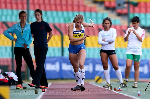 Margarita Goncharova prepares to leap to a world record breaking long jump victory today ©Getty Images