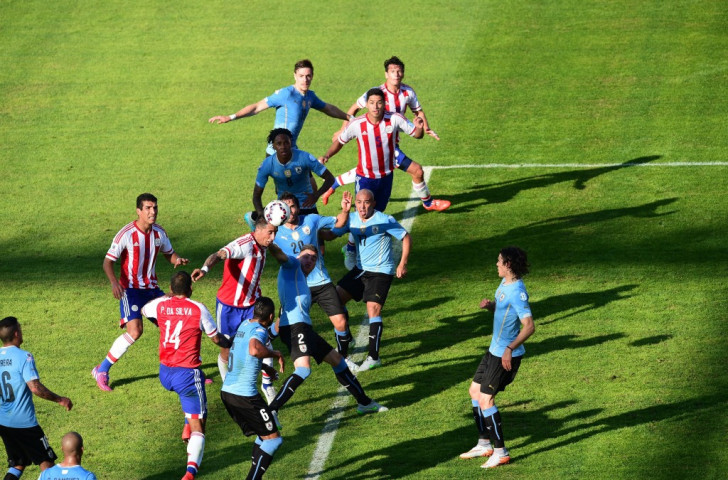 Lucas Barrios equalised for Paraguay against Uruguay