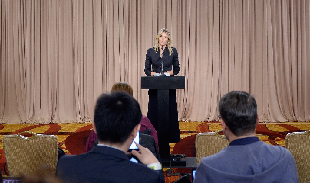 Maria Sharapova during the press conference last year where she announced a ban had been given to her ©Getty Images