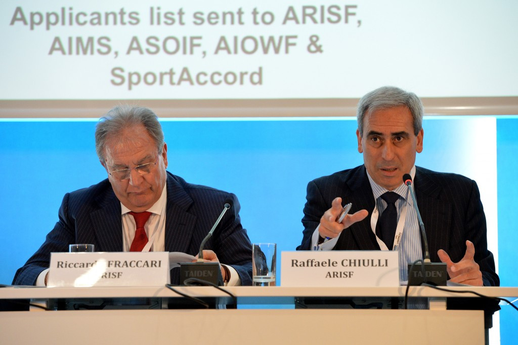 Raffaele Chiulli, right, stressed to the European Parliament in Brussels ARISF's support for all sport initiatives designed to promote participation among other things ©Getty Images