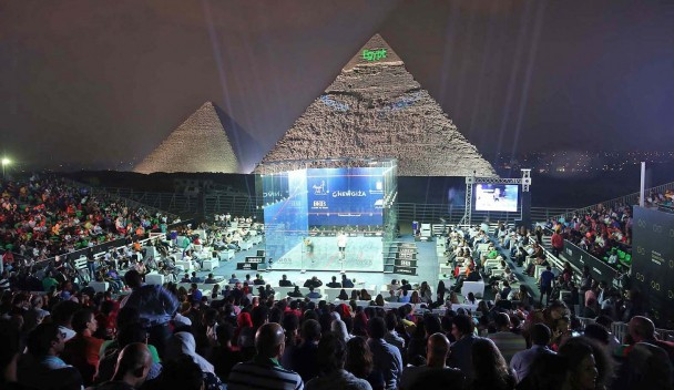 Egypt's Karim Abdel Gawad lifted the Al Ahram Squash Open title in front of a home crowd at the foot of the Pyramids in Giza ©PSA