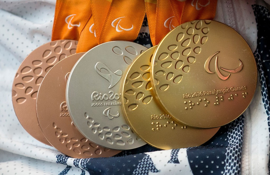 Recycled materials formed the medals that were used at this summer's Olympics and Paralympics in Rio de Janeiro ©Getty Images