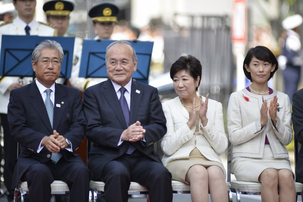 Tokyo Governor Yuriko Koike, first right, could approve the change to move rowing and canoeing 400km away from the Japanese capital ©Getty Images