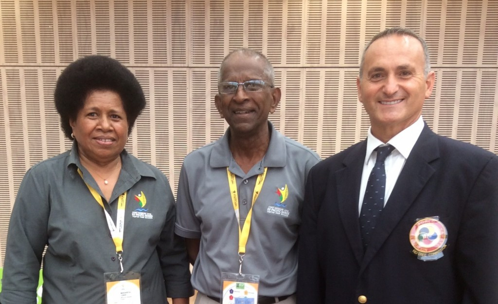 Pacific Games Council President Vidhya Lakhan, centre, has continued to back Tonga as the host nation ©PGC