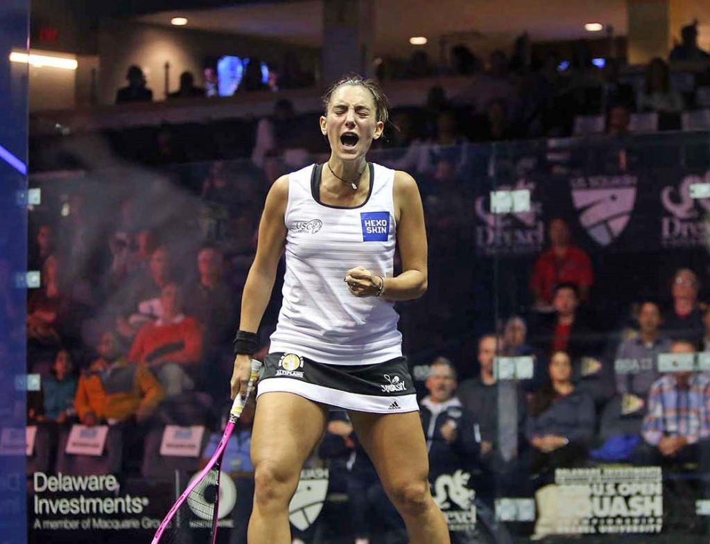 England's Laura Massaro, the number two seed, suffered defeat at the hands of Camille Serme of France, pictured, in a five set thriller lasting 55 minutes ©PSA