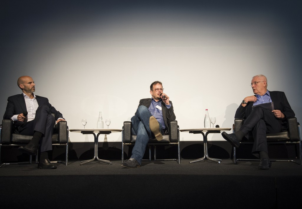 Svein Arne Hansen, right, took part in a panel session with Court of Arbitration for Sport member Alex McLin, left, and German journalist Hajo Seppelt, centre ©Getty Images