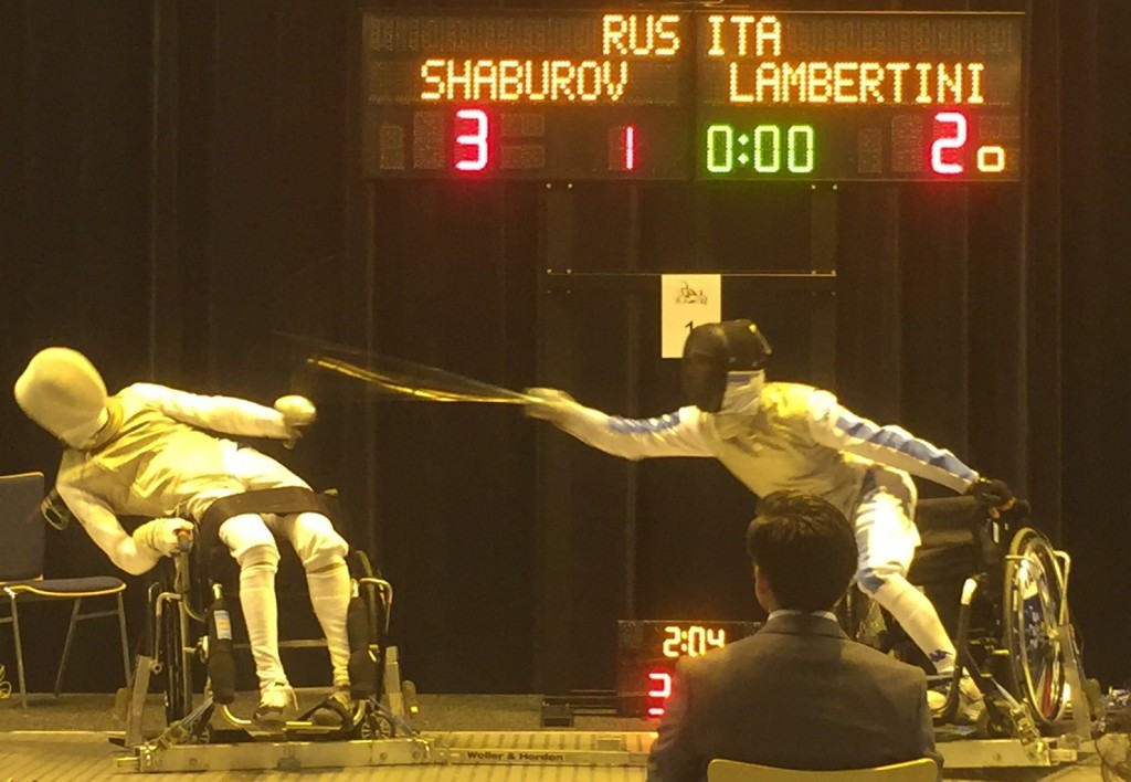 Russia's Maxim Shaburov denied Italy's Emanuele Lambertini of Italy a third consecutive victory, winning the under-23 men's foil, at the IWAS Wheelchair Fencing World Championships ©IWAS