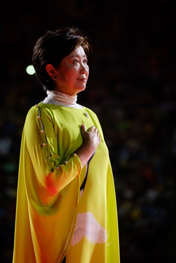 Yuriko Koike has visited the proposed alternative rowing and canoe sprint venue in Tome ©Getty Images